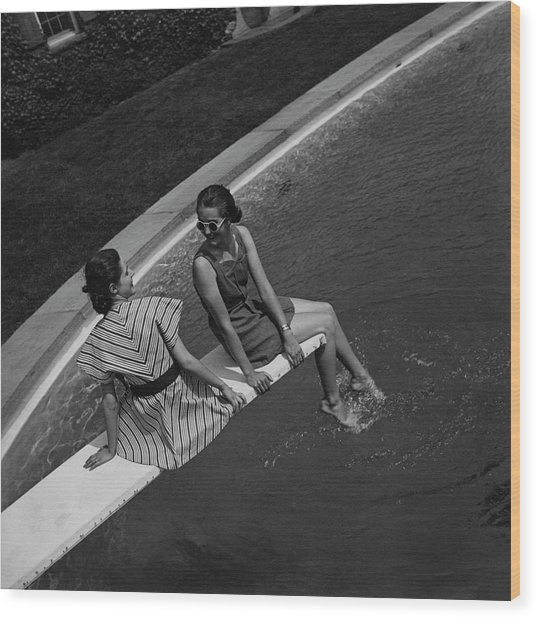 Models On A Diving Board Wood Print