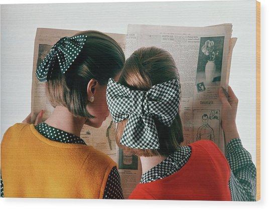 Models Reading Newspaper Wood Print