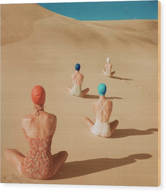 Models Sitting On Sand Dunes Wood Print