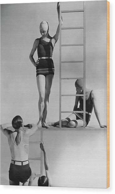 Models Wearing Bathing Suits Wood Print by George Hoyningen-Huene