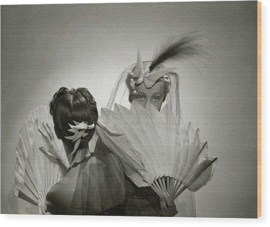 Models Wearing Patou Headdresses Wood Print by Cecil Beaton