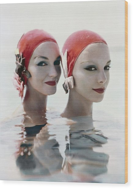 Models Wearing Pink Bathing Caps Wood Print