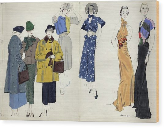 Models Wearing Schiaparelli Wood Print