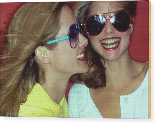Models Wearing Sunglasses Wood Print by Jacques Malignon