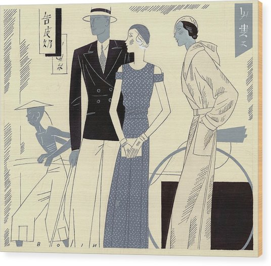 Models Wearing Travel Clothing Wood Print by William Bolin