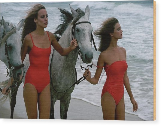 Models With Horses On A Beach Wood Print