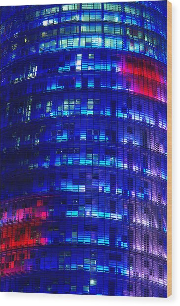 Modern Building At Night Wood Print by Ioan Panaite