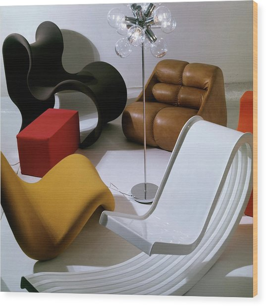 Modern Chairs Wood Print