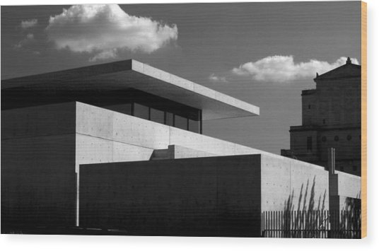 Modern Concrete Architecture Clouds Black White Wood Print
