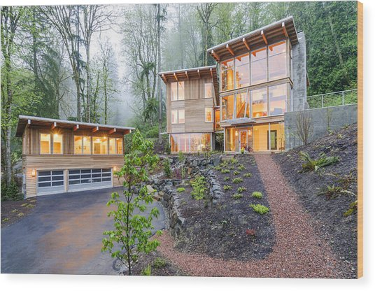 Modern House Illuminated In Woods Wood Print by Will Austin