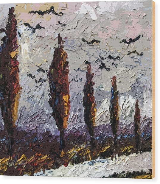 Modern Italian Landscape Trees Paintings Triptych Abstract Mixed Media Art Wood Print