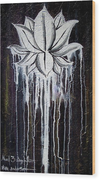 Modern Lotus Flower Painting Wood Print