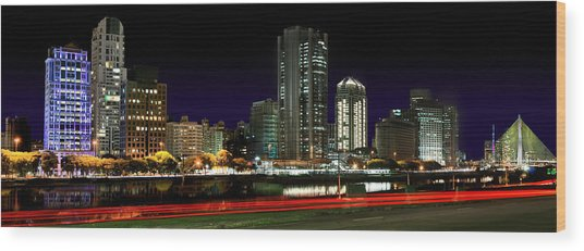 Modern Sao Paulo Skyline Near Brooklin District And Stayed Bridge Wood Print