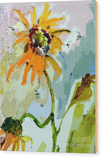 Modern Sunflowers And Bees Art Wood Print