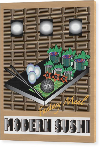 Modern Sushi Wood Print by Colleen Cannon