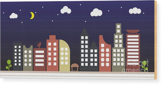 Modern Urban Building Landscape Vector Wood Print by Bwart