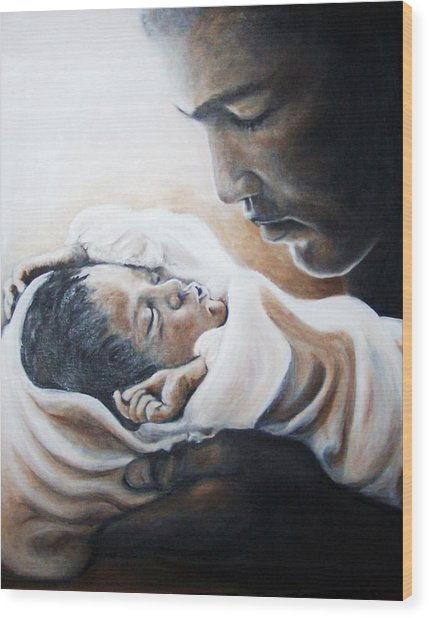 Mohammad Ali And Baby Laila Wood Print