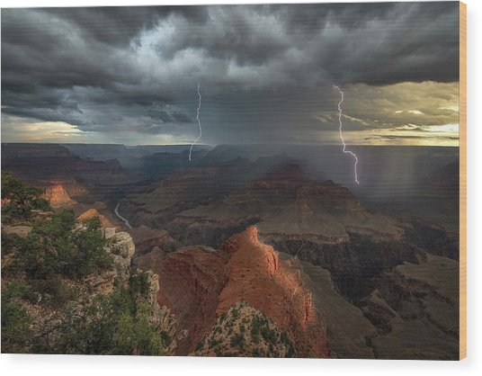 Mohave Point Thunderstorm Wood Print