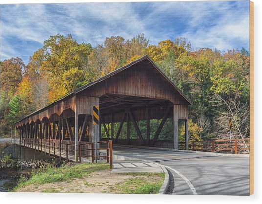 Mohican Covered Bridge Wood Print