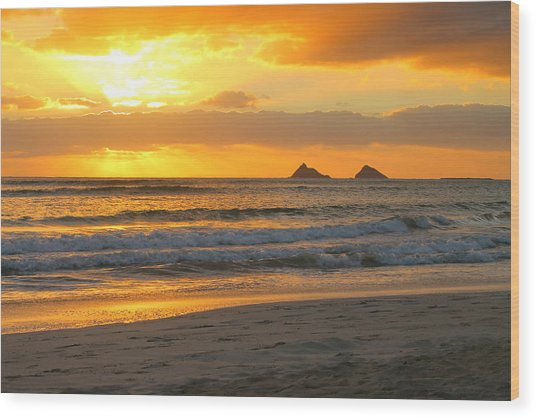 Mokulua Sunrise Wood Print by Saya Studios