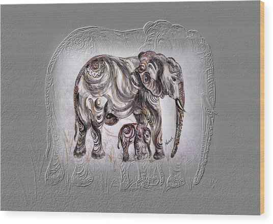 Mom Elephant Wood Print