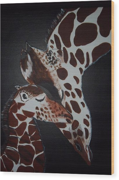 Momma And Baby Wood Print by Donna Bird