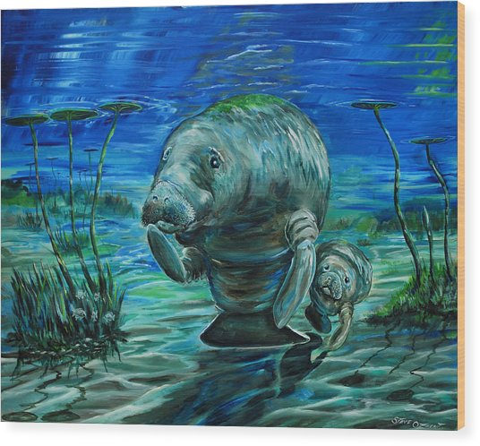 Momma Manatee Wood Print