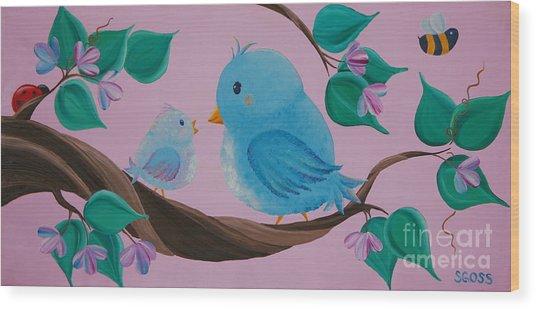 Mommy-baby Birds Wood Print