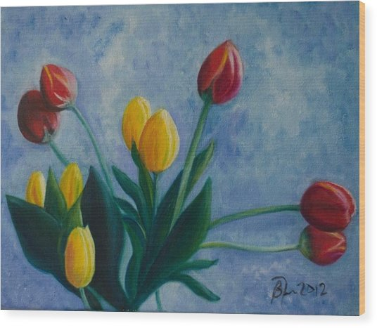 Mom's Tulips Wood Print by Beatriz Topete