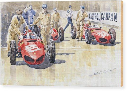 Monaco Gp 1961 Ferrari 156 Sharknose  Wood Print