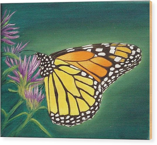 Monarch And Liatris Wood Print