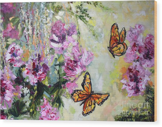 Monarch Butterflies And Peonies Wood Print