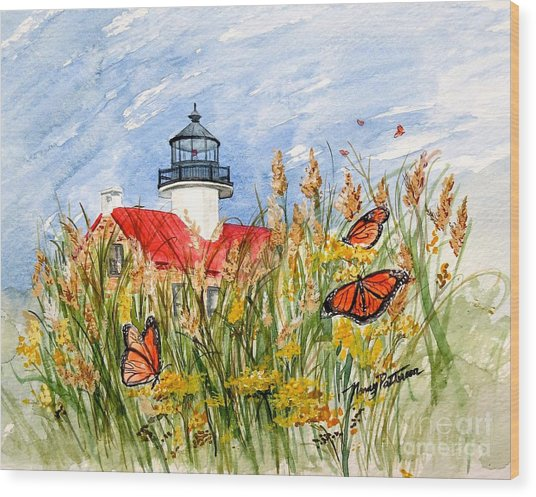 Monarch Butterflies At East Point Light Wood Print