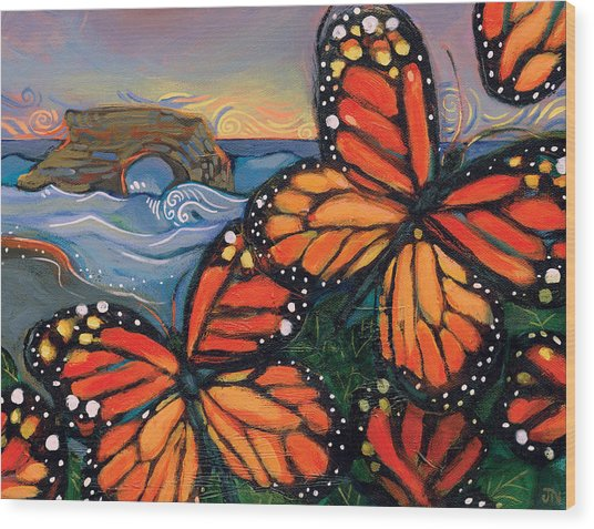 Monarch Butterflies At Natural Bridges Wood Print