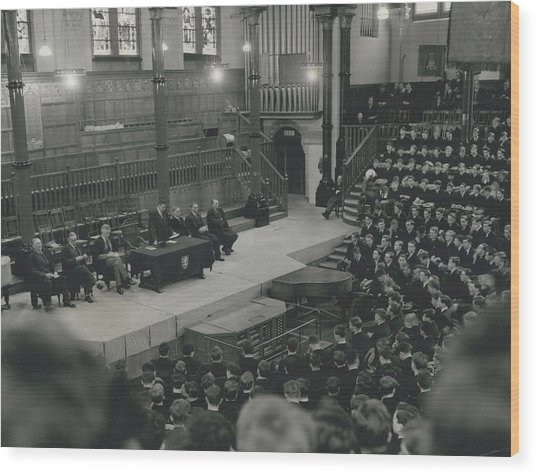 Monday Assembly In The Speech Room At Harrow School Wood Print by Retro Images Archive