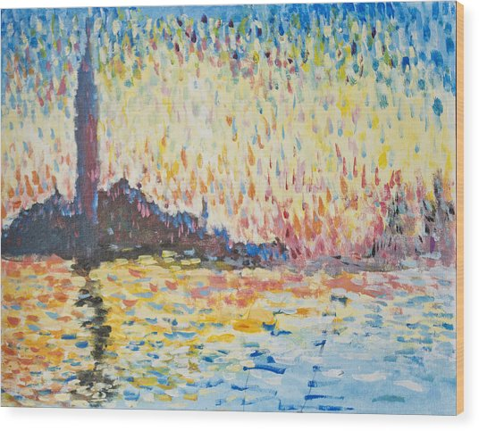 Monet Evening In Venice Wood Print