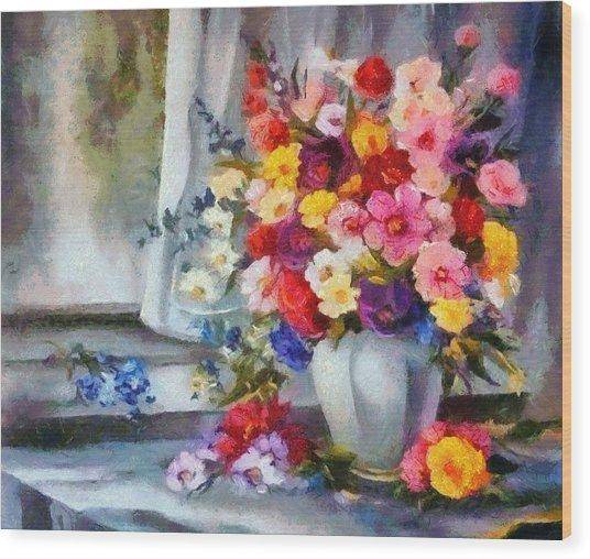 Monet Floral Edged Wood Print