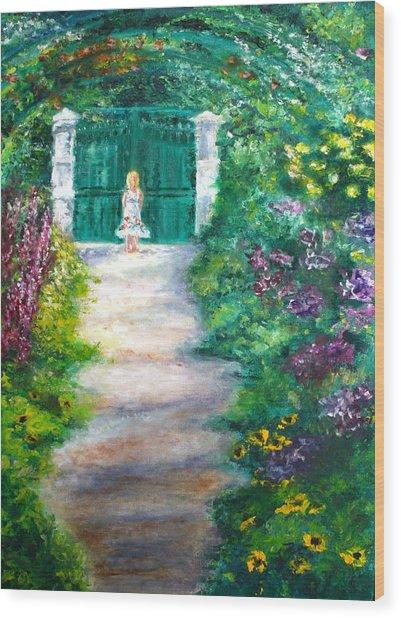 Monet Garden Admirer Wood Print