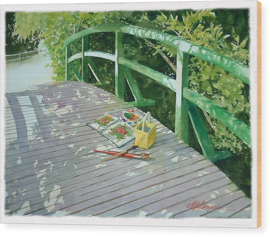 Monet's Bridge Wood Print