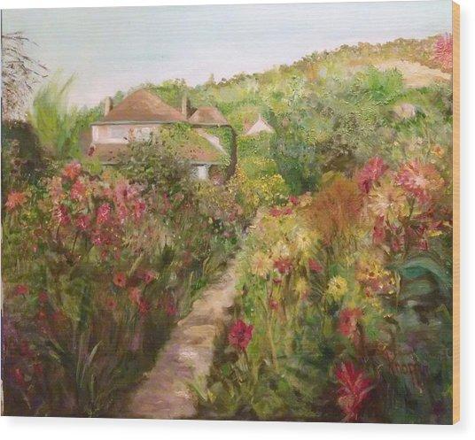 Monets Garden Fall Medley Wood Print