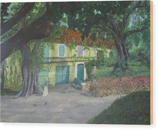 Monet's Home Wood Print