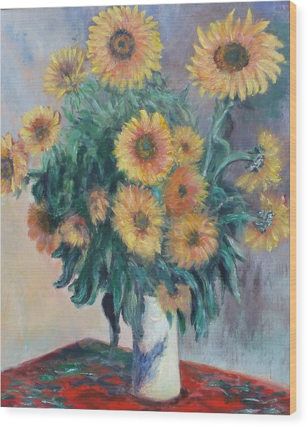 Monet's Sunflowers Wood Print