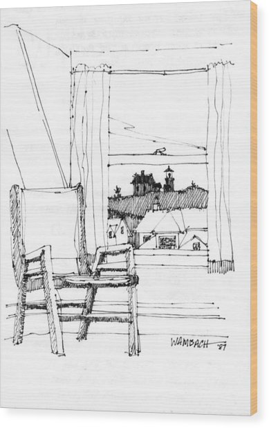 Monhegan Dawn Island Inn Wood Print