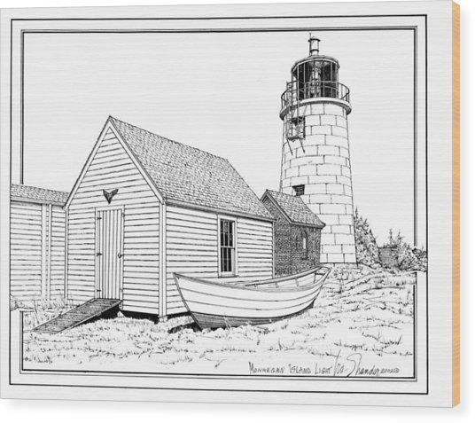Monhegan Island Light Wood Print
