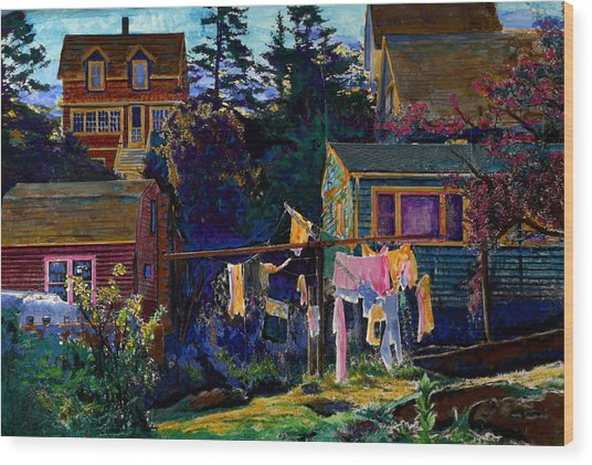 Monhegan Laundry Wood Print