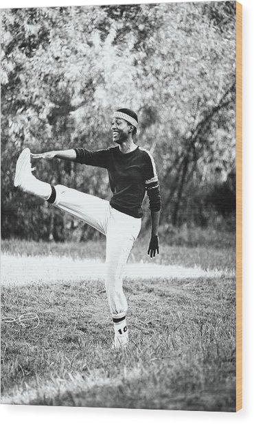 Monica Kaufman Stretching In Sports Wear Wood Print