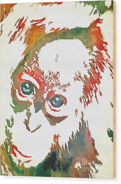 Monkey Pop Art Wood Print