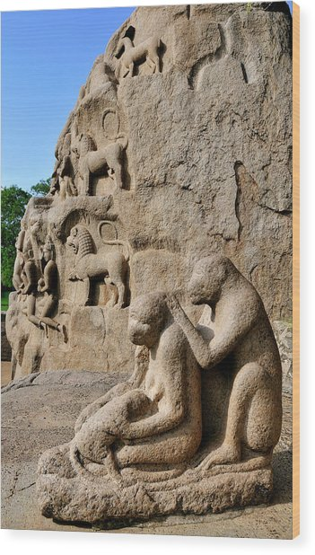 Monkey Sculptures Near The Arjuna's Wood Print