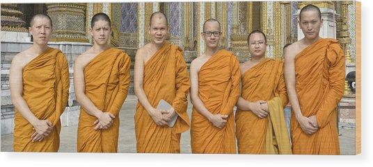 Monks At The Grand Palace Wood Print