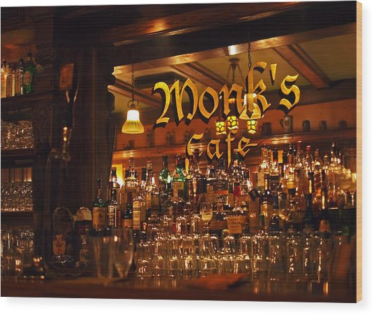 Monks Cafe Wood Print